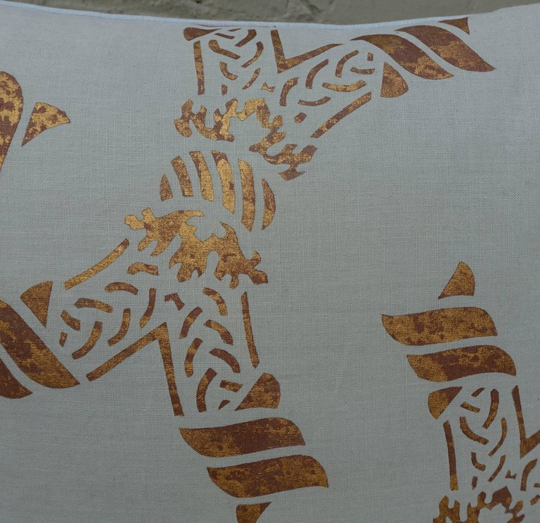 Pair of Gold Stenciled Nomi Linen Pillows by Melissa Levinson 3