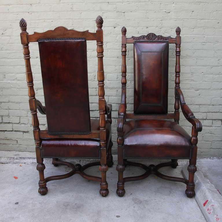 Pair of Spanish Walnut Leather Armchairs 2