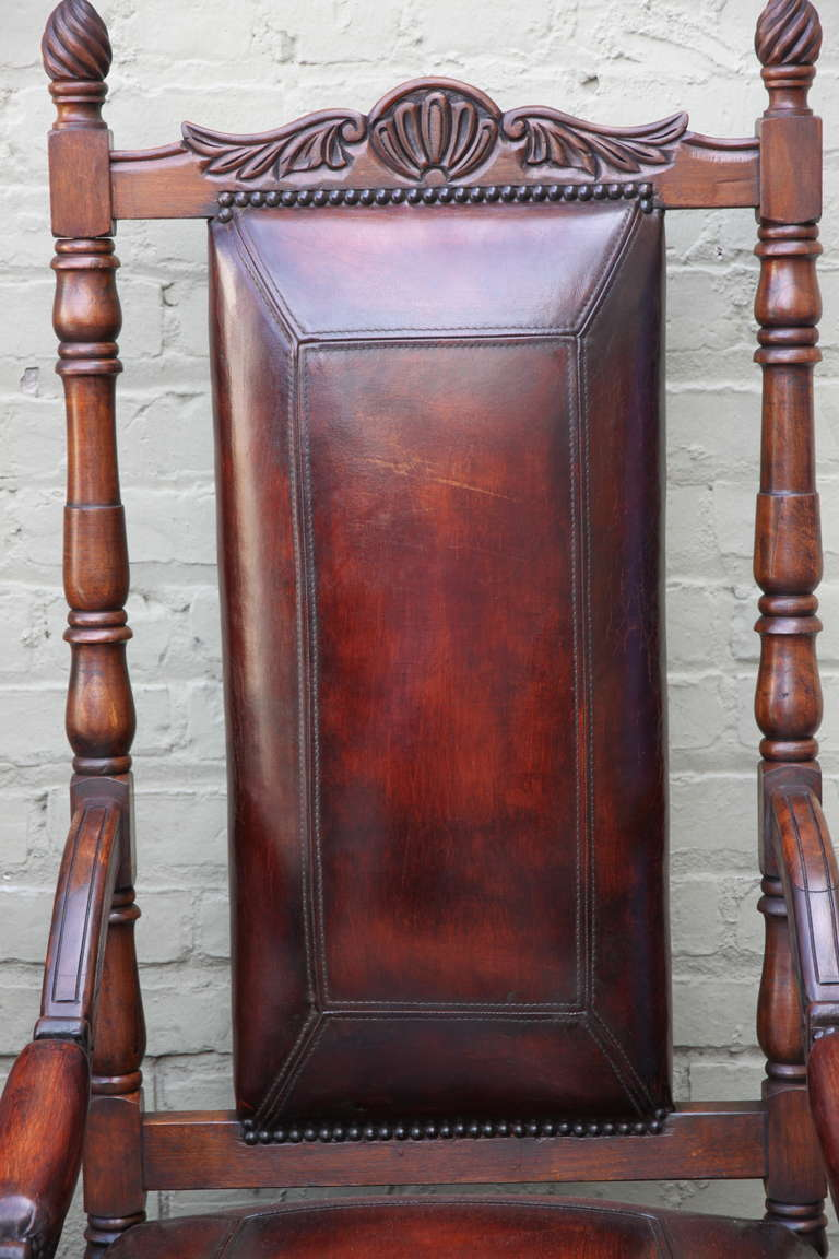 Pair of Spanish Walnut Leather Armchairs 4