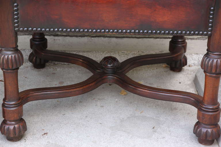 Pair of Spanish Walnut Leather Armchairs 5