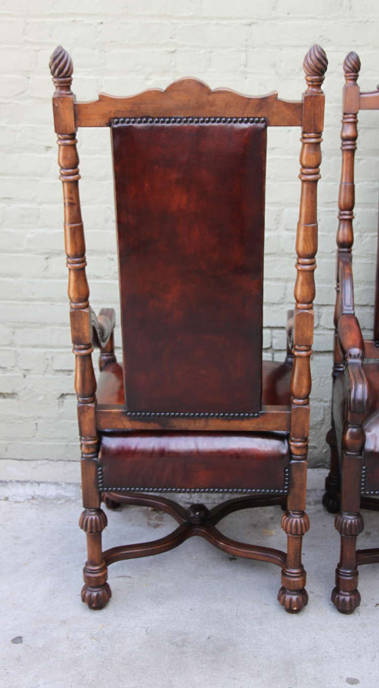 Pair of Spanish Walnut Leather Armchairs 8