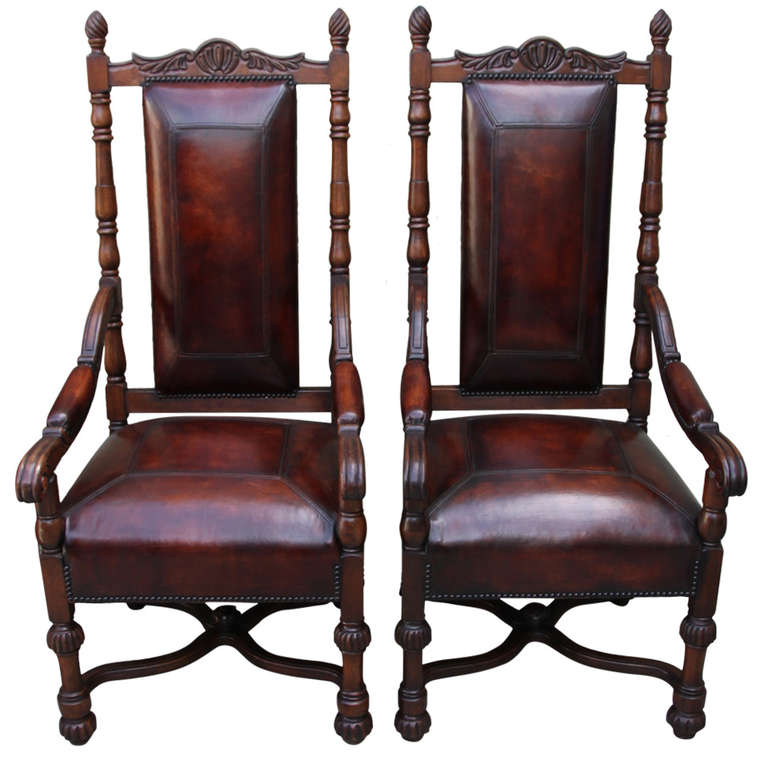 Pair Of Spanish Walnut Leather Armchairs
