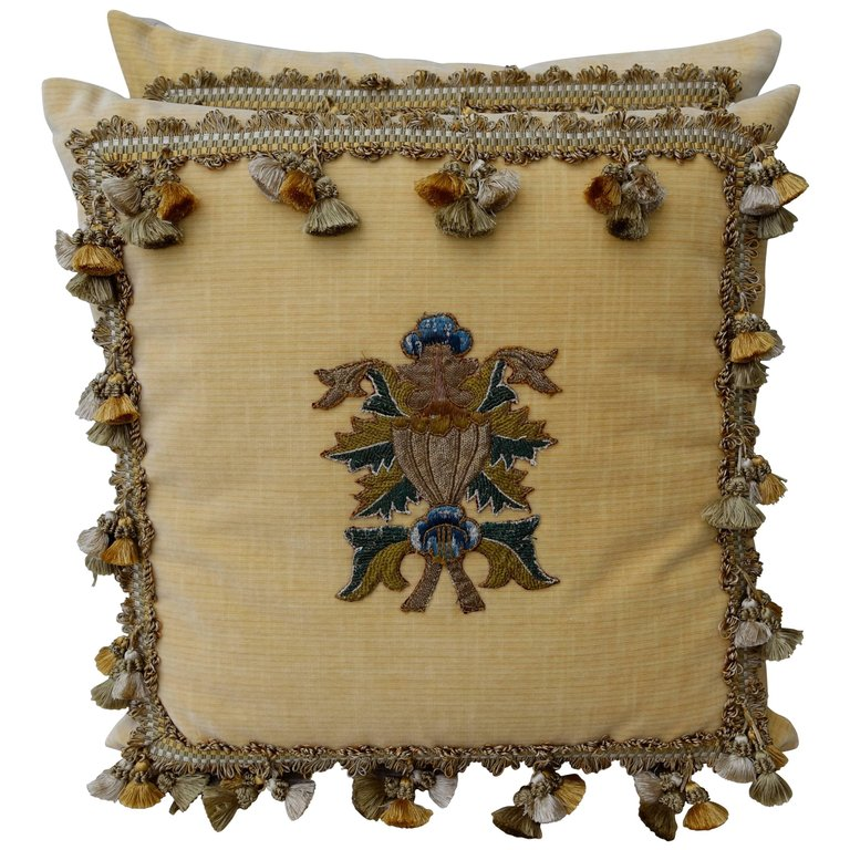 Pair of Yellow Velvet Appliqued Pillows by Melissa Levinson