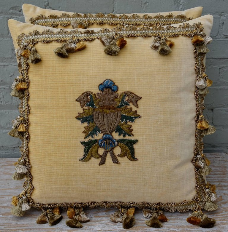 Pair of Yellow Velvet Appliqued Pillows by Melissa Levinson 1