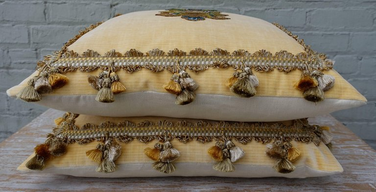 Pair of Yellow Velvet Appliqued Pillows by Melissa Levinson 2