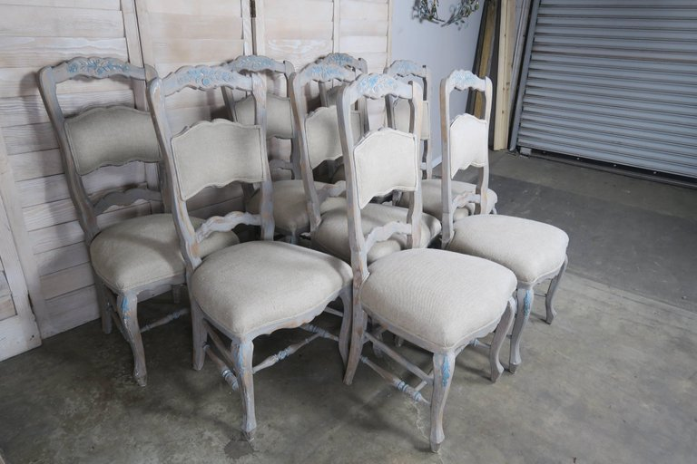 Set of Eight French Country Dining Chairs 3