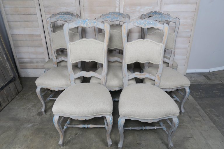 Set of Eight French Country Dining Chairs 4