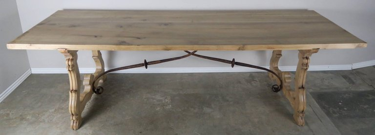 Spanish Baroque Style Walnut Refractory Dining Table, circa 1900s 1