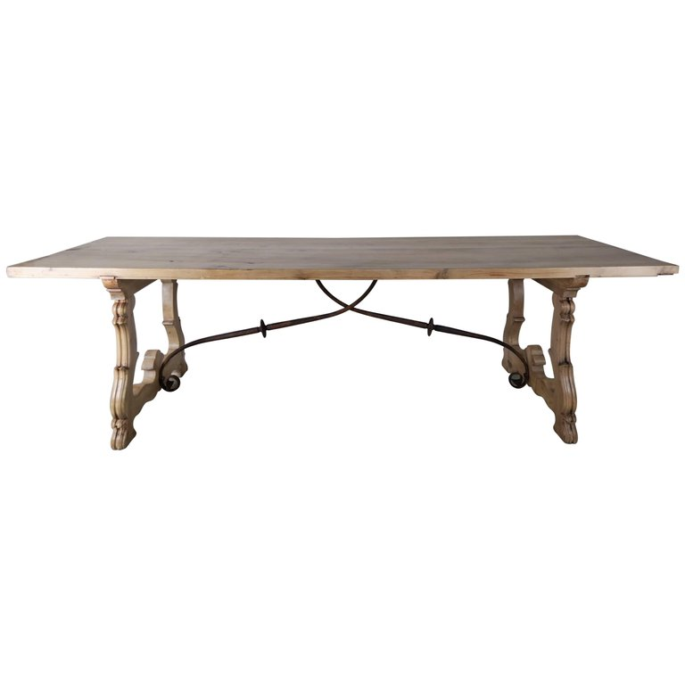 Spanish Baroque Style Walnut Refractory Dining Table, circa 1900s