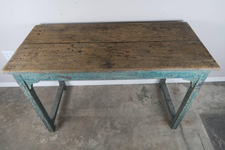 Swedish Blue Painted and Natural Wood Table 2