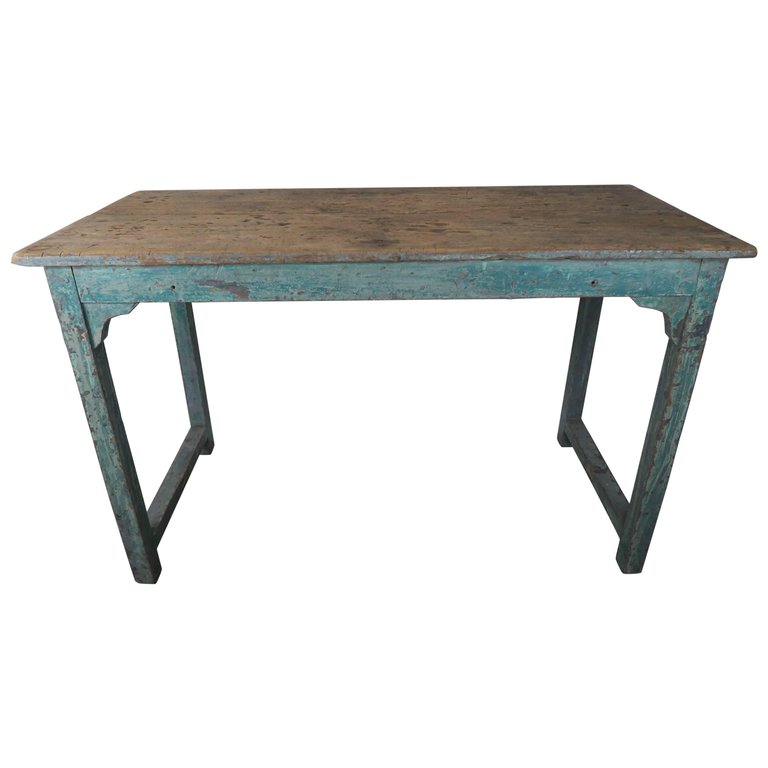 Swedish Blue Painted and Natural Wood Table