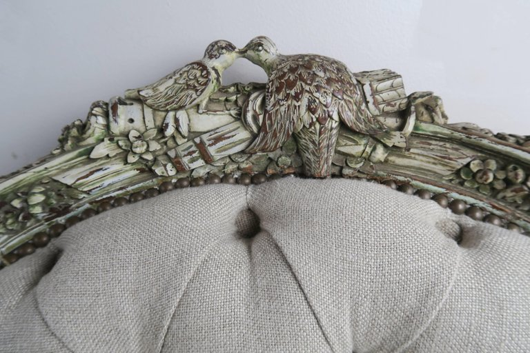 19th Century Carved Wood Louis XV Style Bergere with Doves 4