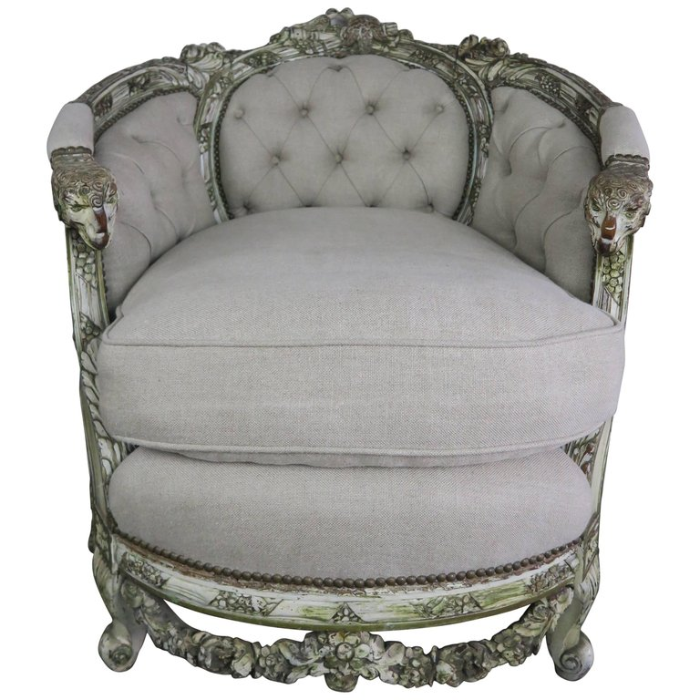 19th Century Carved Wood Louis XV Style Bergere with Doves