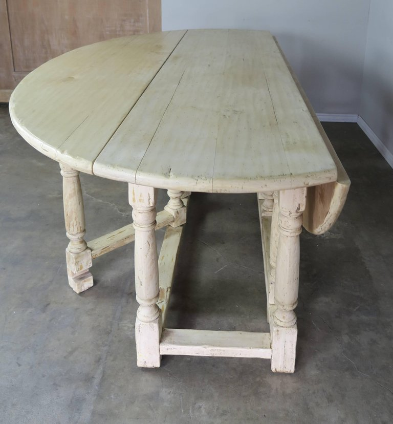 19th Century English Bleached Walnut Gateleg Table 6