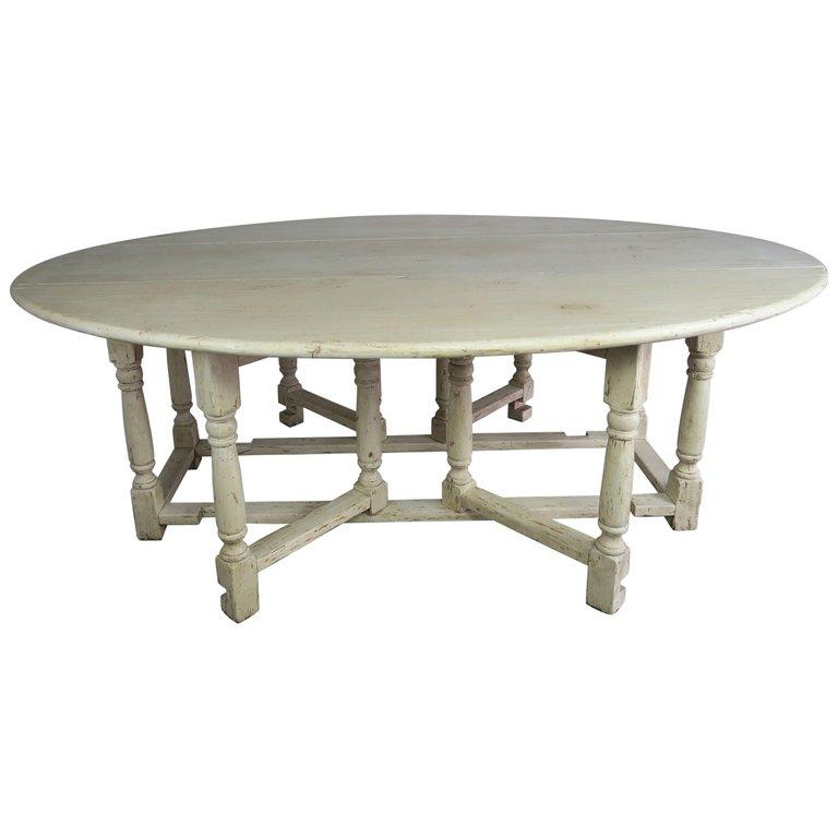 19th Century English Bleached Walnut Gateleg Table