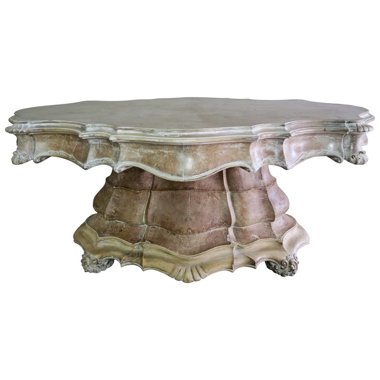 19th Century, French Carved Walnut Center Table