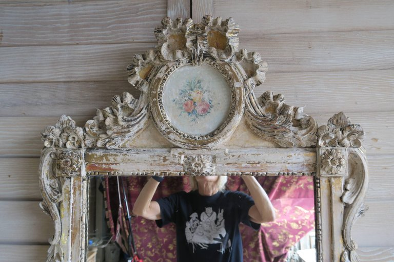 19th Century French Painted Louis XV Style Mirror 1