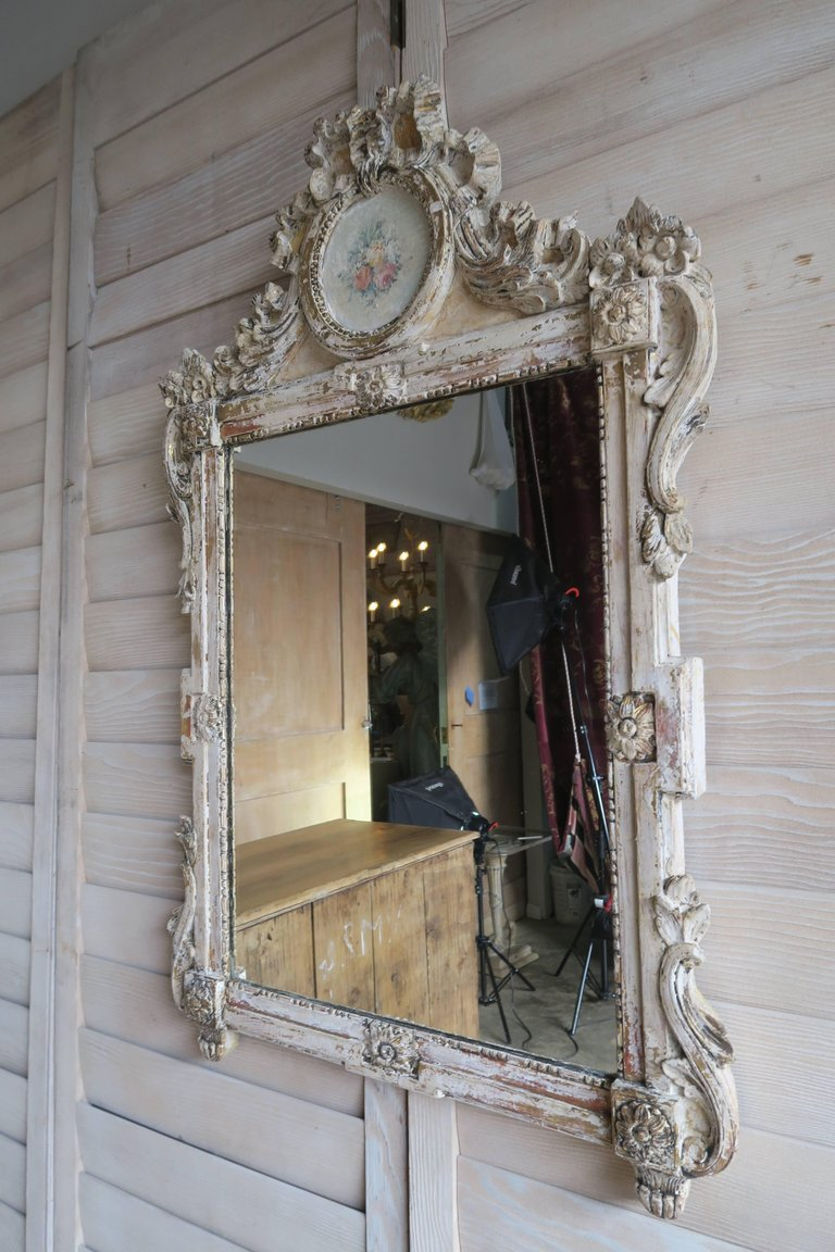 19th Century French Painted Louis XV Style Mirror 4