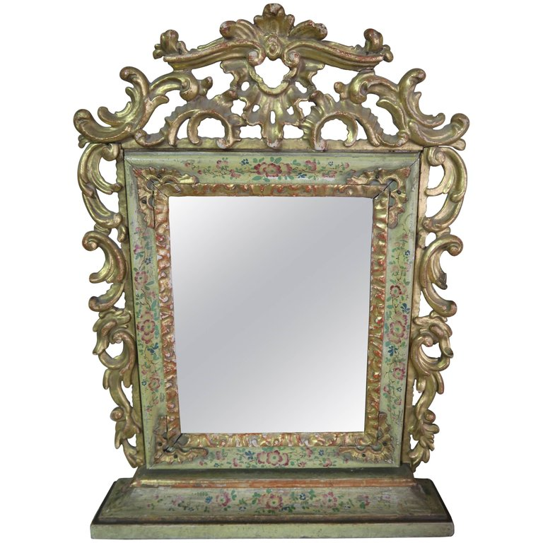 19th Century Painted and Giltwood Mirror