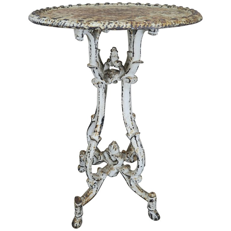 French painted cast iron garden side table melissa for Cast iron end table
