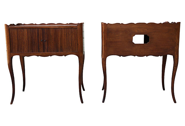 Accordion Radio Side Tables, Pair 1