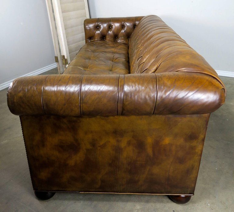 English Tufted Leather Chesterfield Style Sofa, 1930s Melissa Levinson Antiques