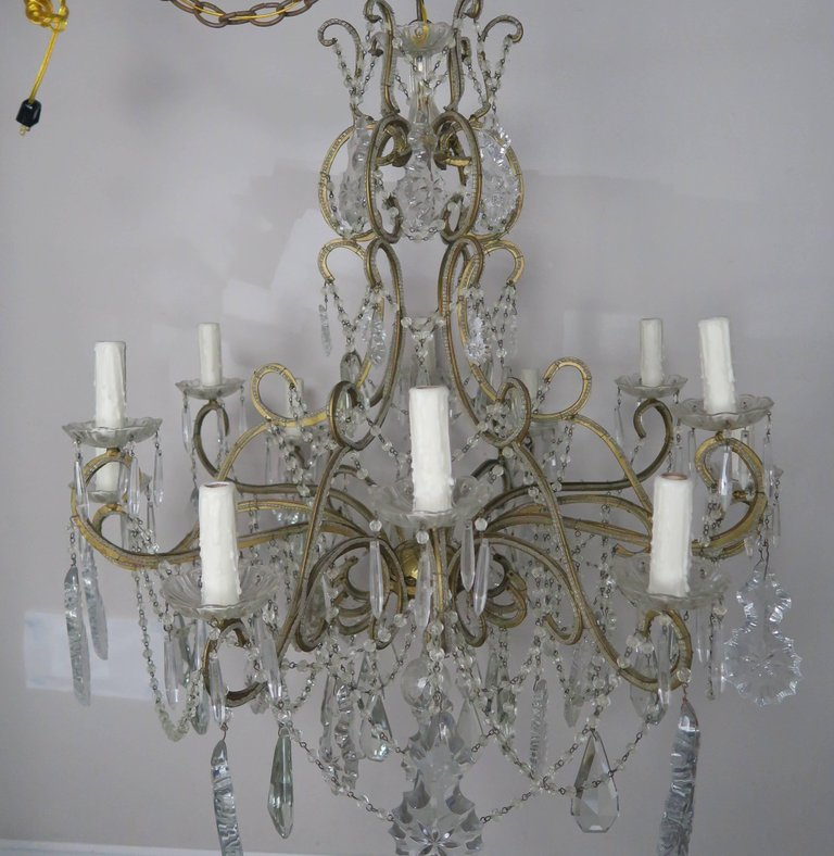 French crystal beaded louis xv style chandelier circa 1930s french crystal beaded louis xv style chandelier circa 1930s mozeypictures Gallery