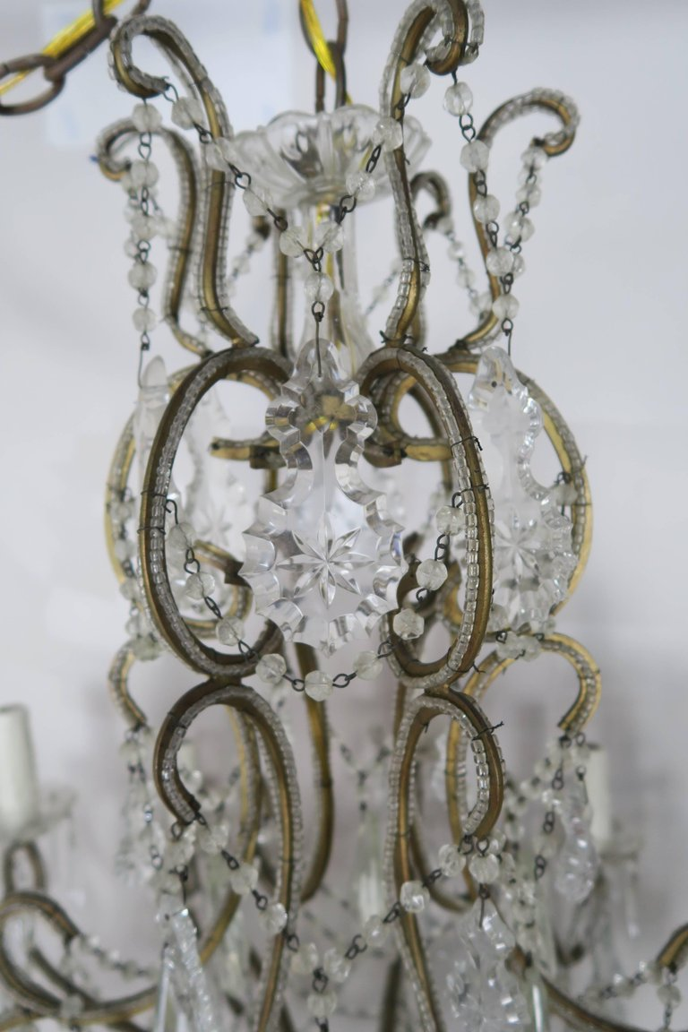 French Crystal Beaded Louis XV Style Chandelier, circa 1930s 1
