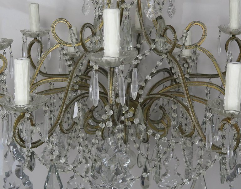 French Crystal Beaded Louis XV Style Chandelier, circa 1930s 2