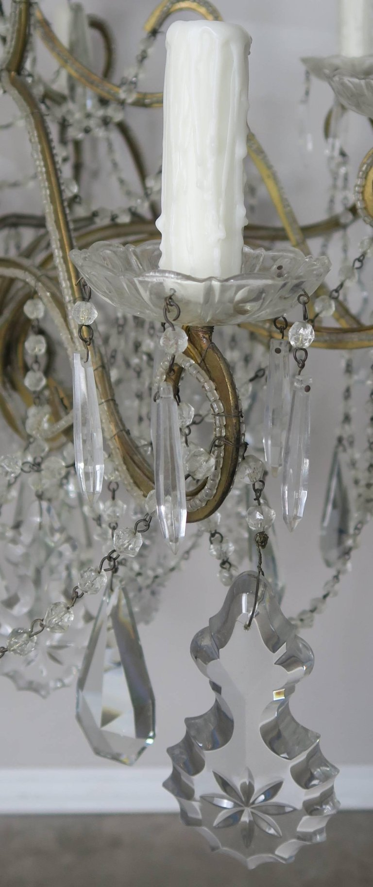 French Crystal Beaded Louis XV Style Chandelier, circa 1930s 5