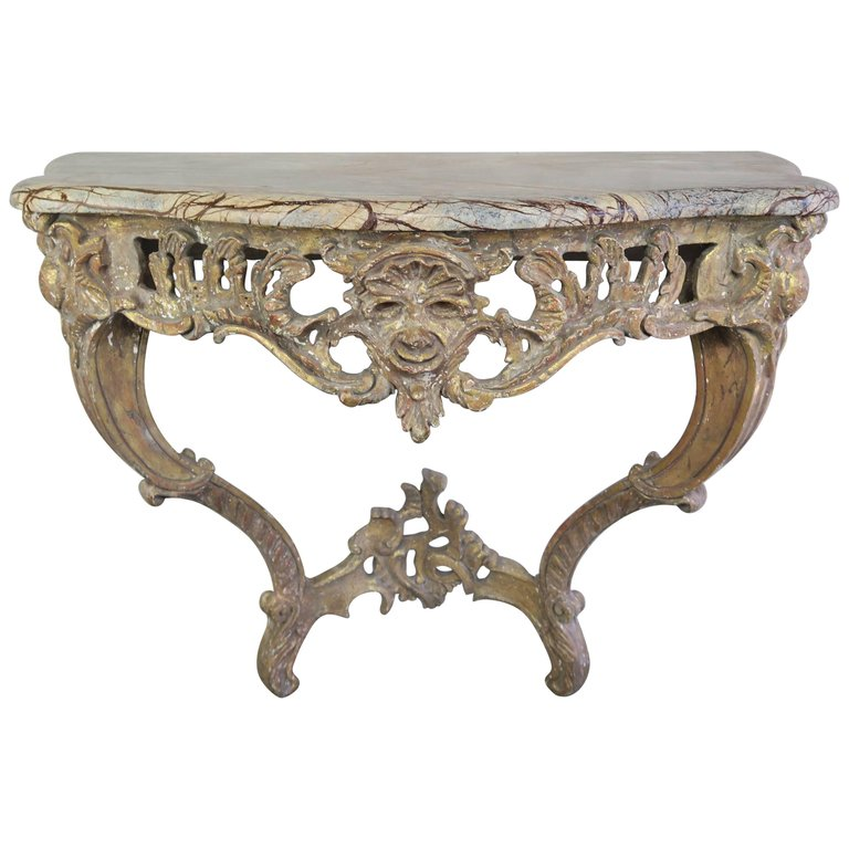 French Giltwood cosole with Marble top