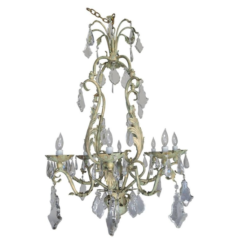 French Wrought Iron And Crystal Painted Chandelier Circa