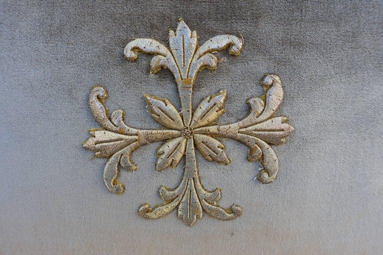 Gold Metallic Appliqued Silk Velvet Pillows Pair