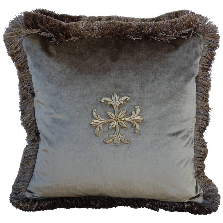 Popular Gold Metallic Appliqued Silk Velvet Pillows, Pair | Melissa  YH08