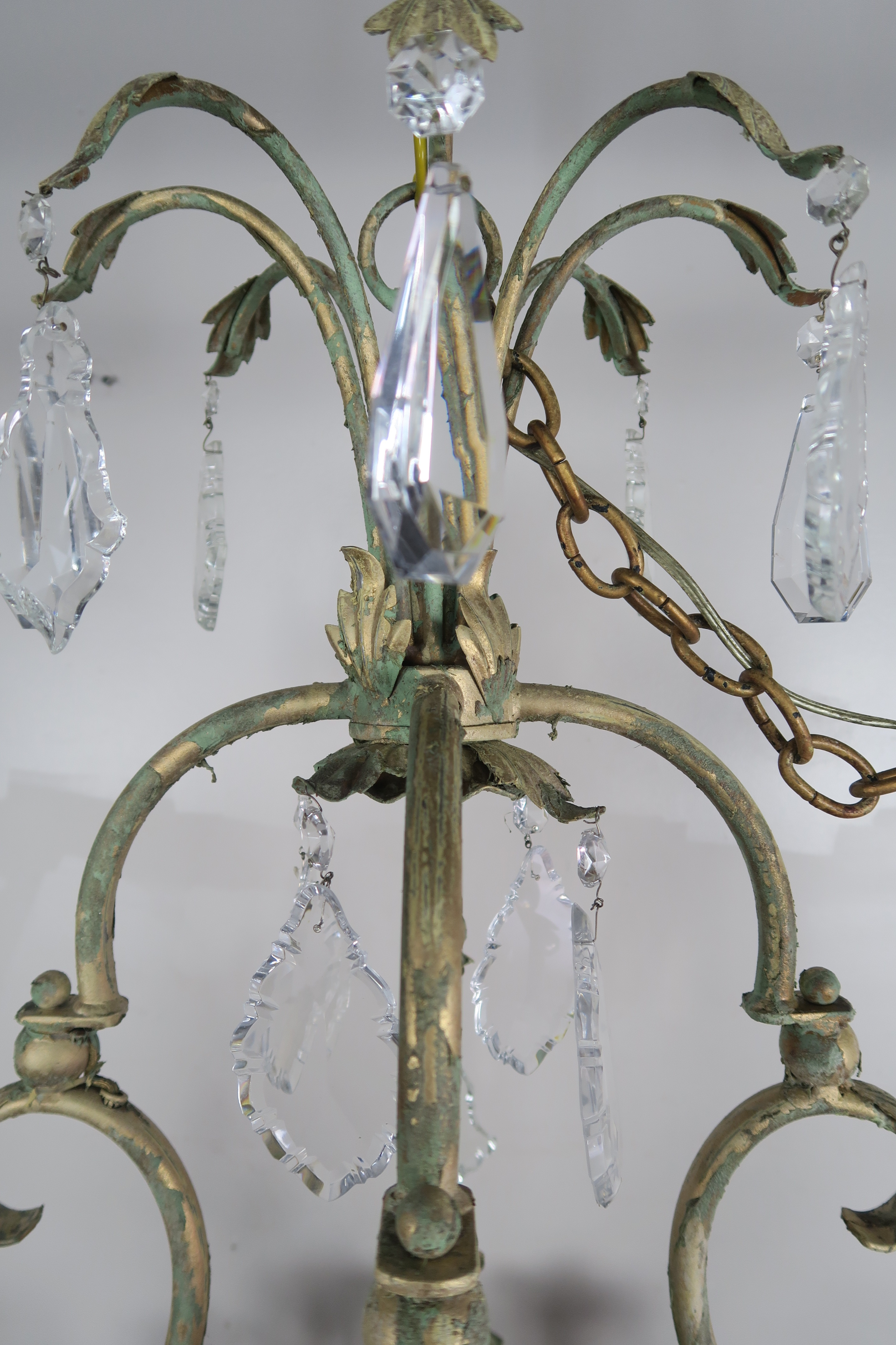 French Wrought Iron Amp Crystal Painted Chandelier Melissa
