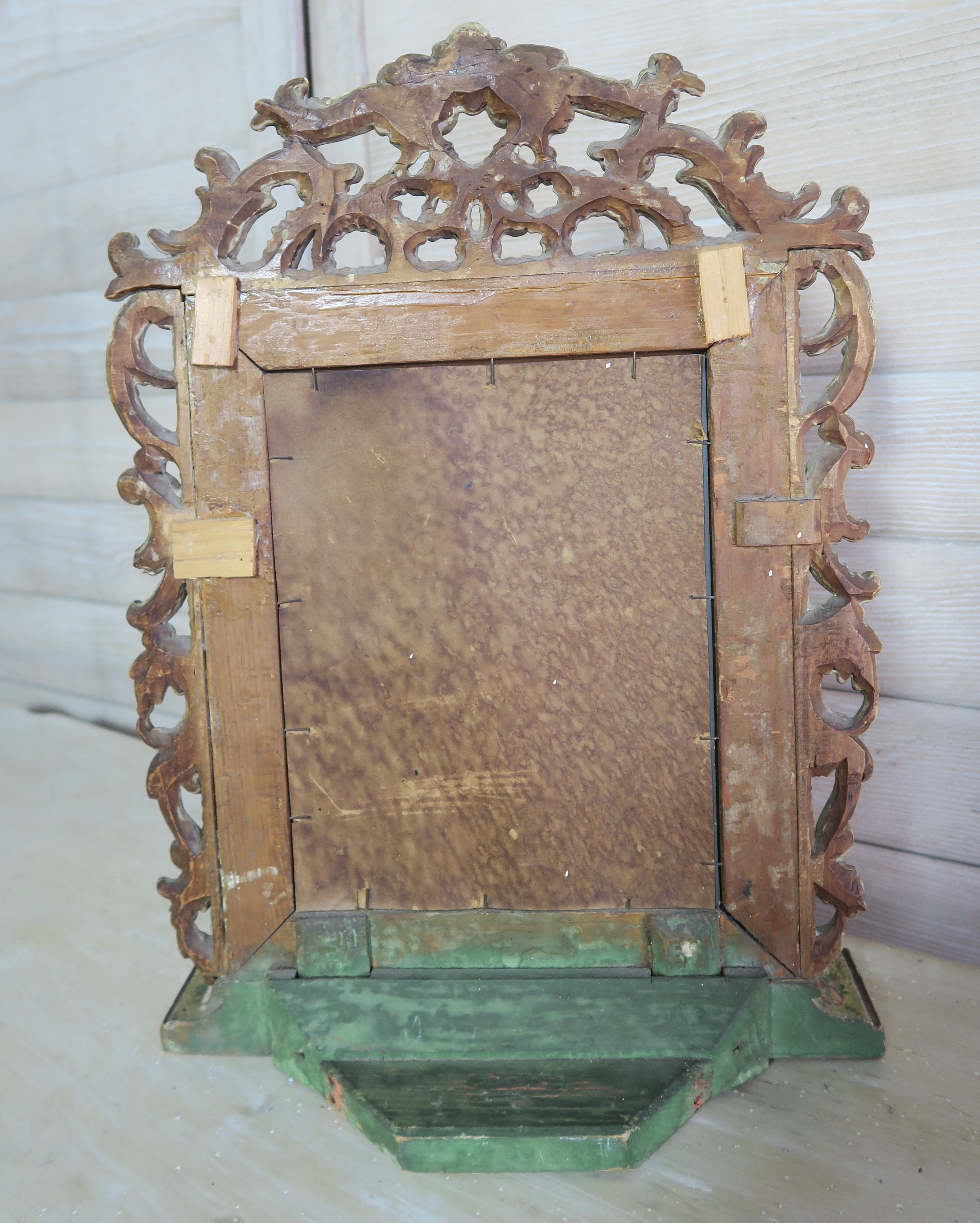 Venetian Painted Floral Mirror W Gilt Wood Carving