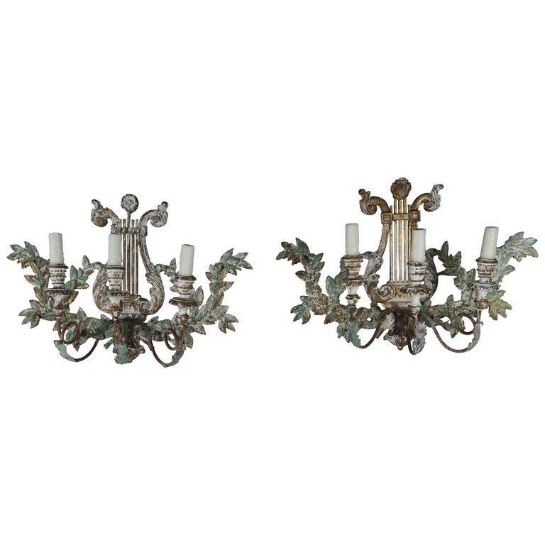 Italian Carved Painted Lyre Shaped 3-Light Sconces, Pair