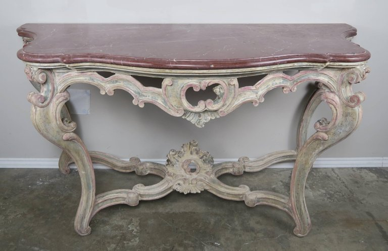 Pair of 19th Century Louis XV Style Painted Consoles with Marble ...