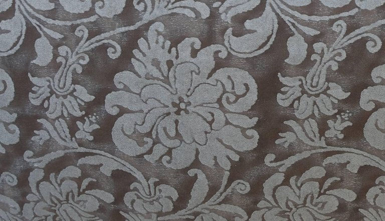 Pair of Cimarosa Patterned Greyish Brown and Silvery Gold Fortuny Pillows 2