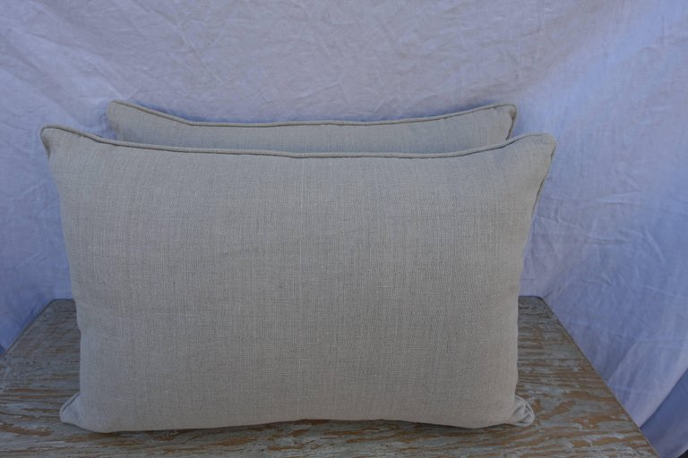 Pair of Cimarosa Patterned Greyish Brown and Silvery Gold Fortuny Pillows 3