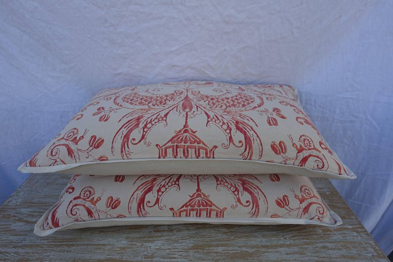 Pair of Manzianno Patterned Fortuny Pillows