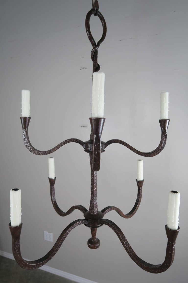 Two tier hammered wrought iron chandeliers a pair 2800 per item two tier hammered wrought iron chandeliers a pair 2800 per item aloadofball Gallery