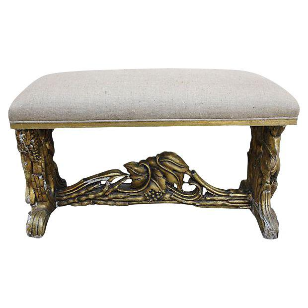 carved-giltwood-and-burlap-bench-8137