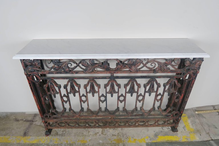 19th Century French Wrought Iron Console with Marble Top 2