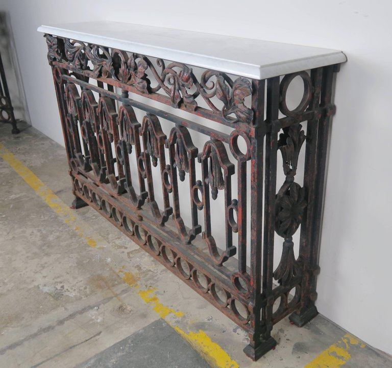 19th Century French Wrought Iron Console with Marble Top 4