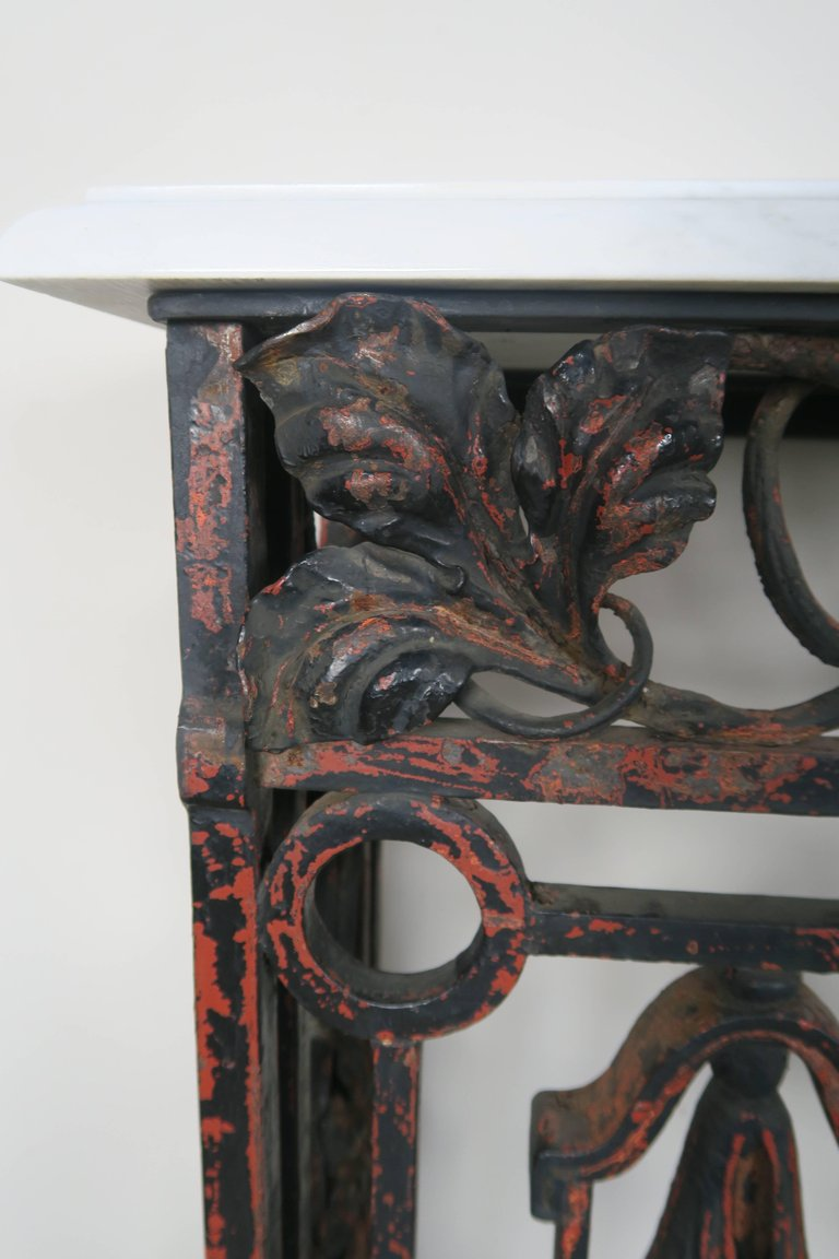 19th Century French Wrought Iron Console with Marble Top 6