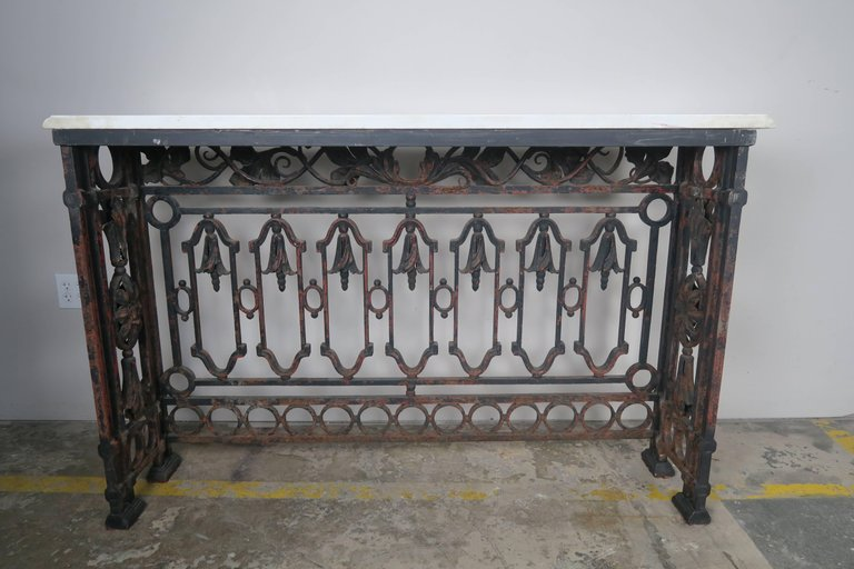 19th Century French Wrought Iron Console with Marble Top 7