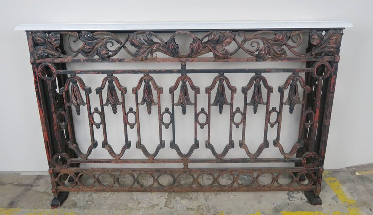 19th Century French Wrought Iron Console with Marble Top