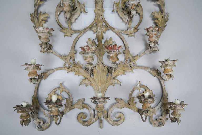 19th Century Italian 16-Light Wall Ornament for Candles 1
