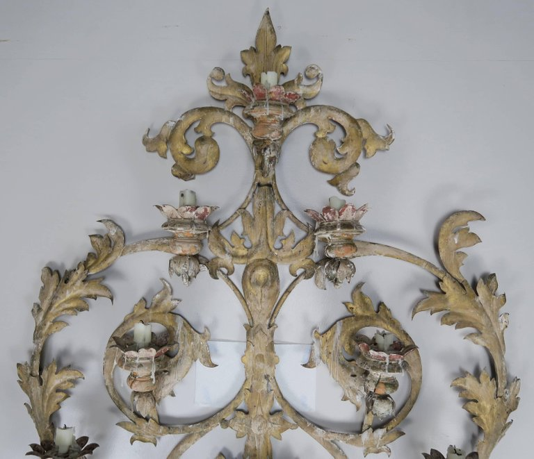 19th Century Italian 16-Light Wall Ornament for Candles 2